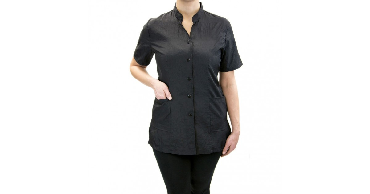 Anna Jacket with Custom Name Logo Embroidery Salon Stylist Hairdresser Smock Uniform Style# 9200 Black