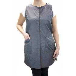 Snap Vest with Custom Name Logo Embroidery Salon Stylist Hairdresser tunic Smock Uniform Style # 9062 Color: Grey
