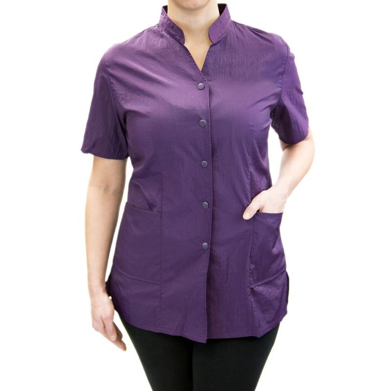 Anna Jacket with Custom Name Logo Embroidery Salon Stylist Hairdresser Smock Uniform Style# 9200 Purple