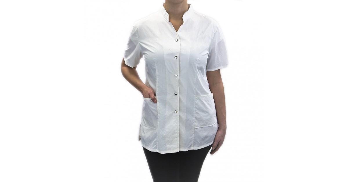 Anna Jacket with Custom Name Logo Embroidery Salon Stylist Hairdresser Smock Uniform Style# 9200 White