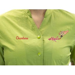 Anna Jacket with Custom Name Logo Embroidery Salon Stylist Hairdresser Smock Uniform