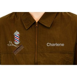 Barber Jacket with Custom Name Logo Embroidery Haircut Barber Smock Uniform
