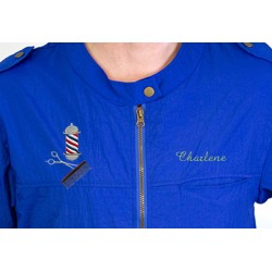 Colin Jacket with Custom Name Logo Embroidery Haircut Barber Smock Uniform Style # 9301 Blue