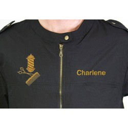 Colin Jacket with Custom Name Logo Embroidery Haircut Barber Smock Uniform Style # 9301 Black