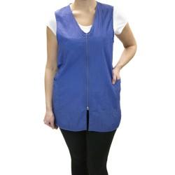 Zipper Vest with Custom Name Logo Embroidery Salon Stylist Hairdresser Smock Uniform Style # 9161 Color: Blue