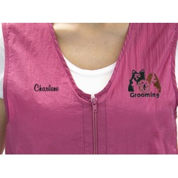 Zipper Vest with Custom Name Logo Embroidery Salon Stylist Hairdresser Smock Uniform