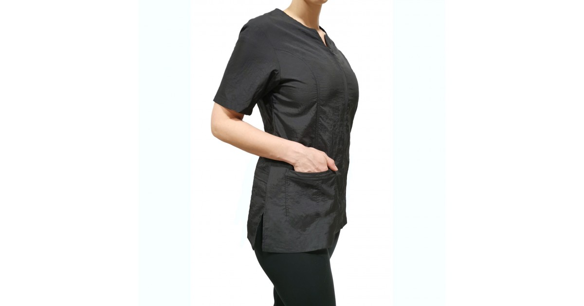 Hair Water Repellent Short Sleeves Haley Jacket with Cell Phone Pocket for Stylist Barber Grooming Nail Art